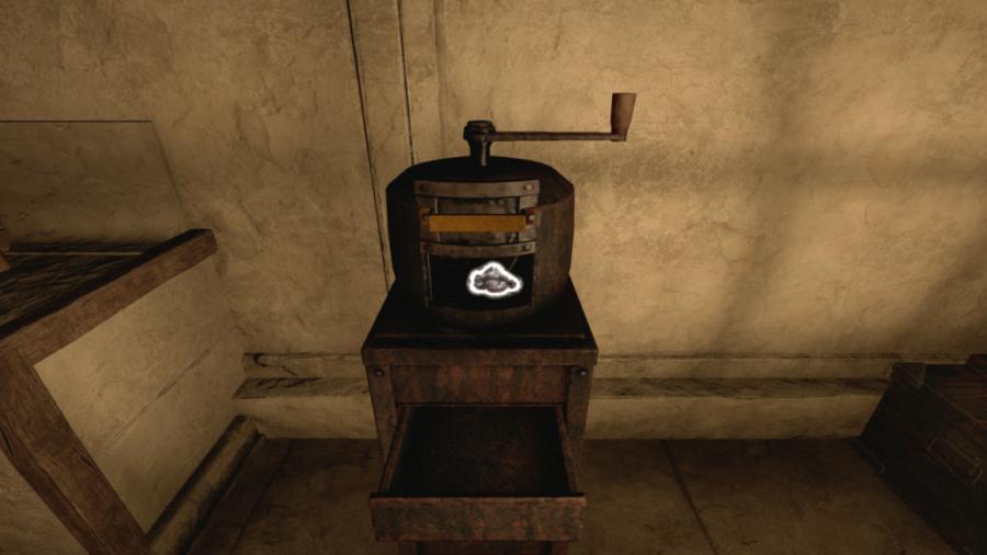 A screenshot of the charcoal grinder in Amnesia: Rebirth