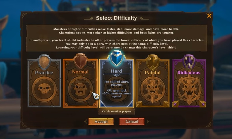 A screenshot from Torchlight 3 showing off the difficulty settings