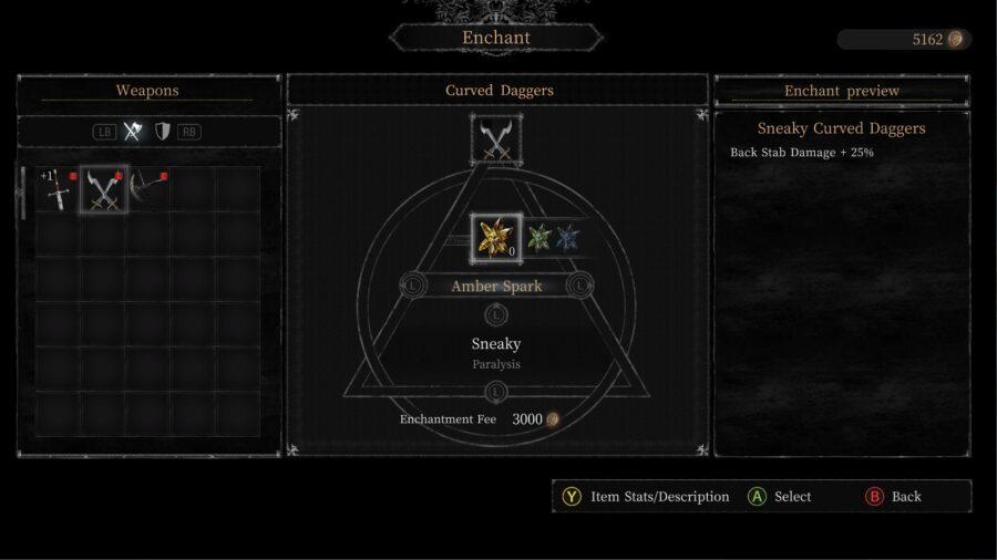 A screenshot of the Enchanting menu in Vigil: The Longest Night