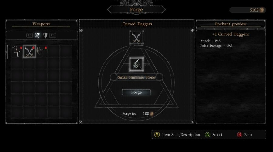 A screenshot of the Forging menu in Vigil: The Longest Night