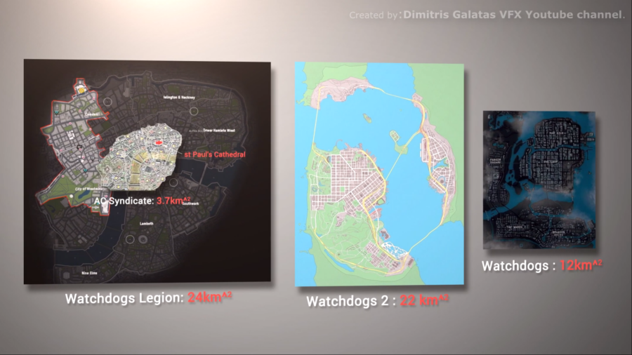A screenshot comparing the three WAtch Dogs games world in sizes