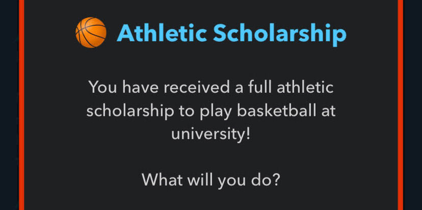 Example of getting an Athletic Scholarship in BitLife