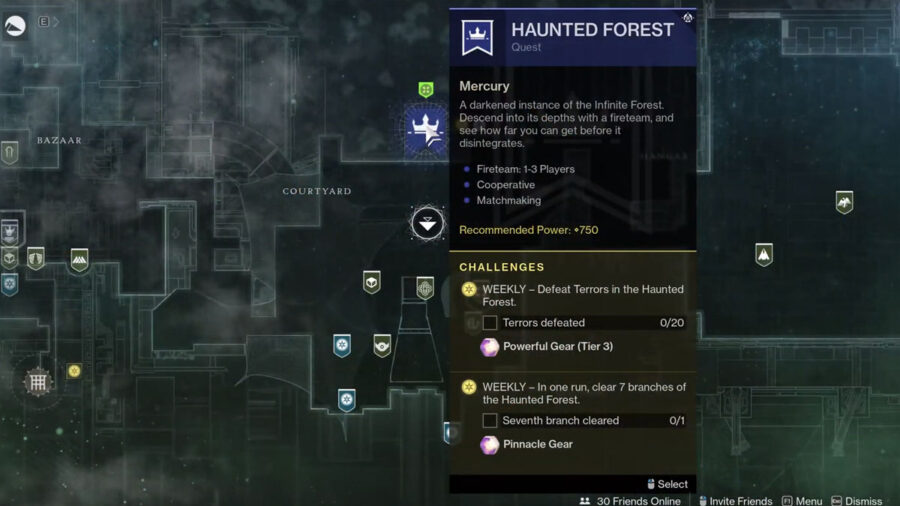 Map to the Haunted Forest location in Destiny 2