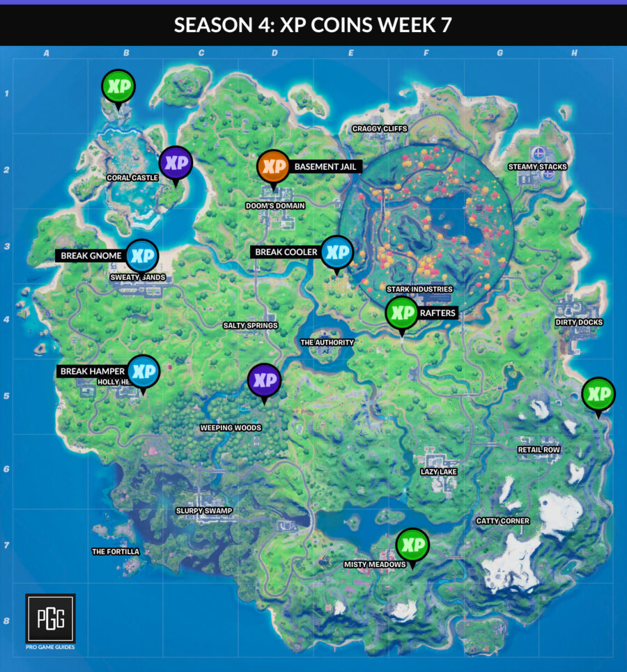 XP coins maps for Fortnite Chapter 2: Season 4 Week 7