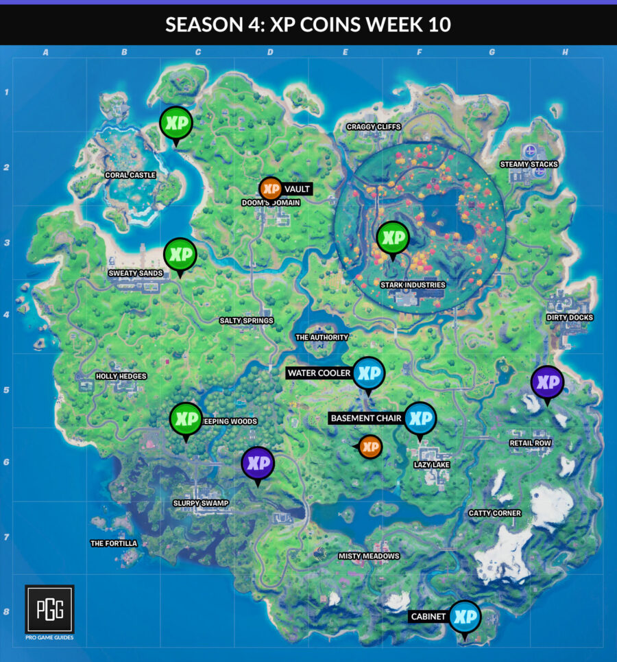 Fortnite Chapter 2 Season 4 week 10 xp coin map
