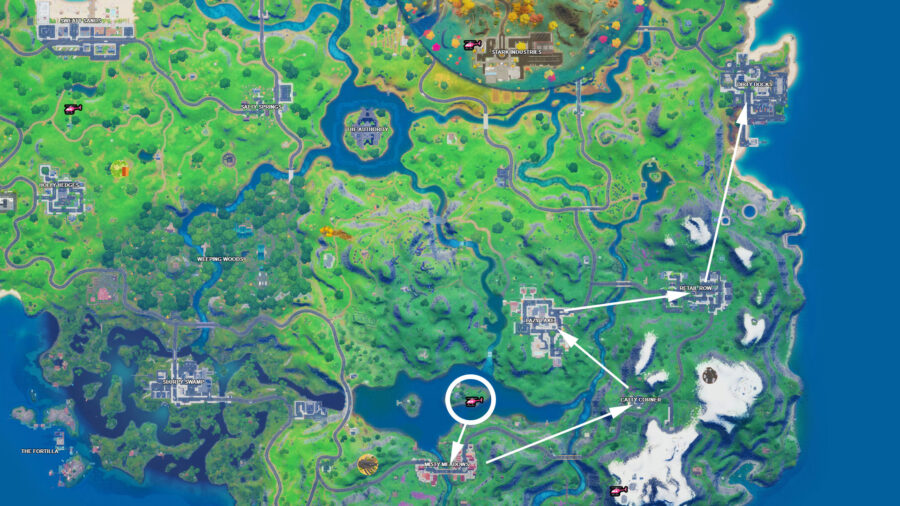 Fortnite five named locations travel path map