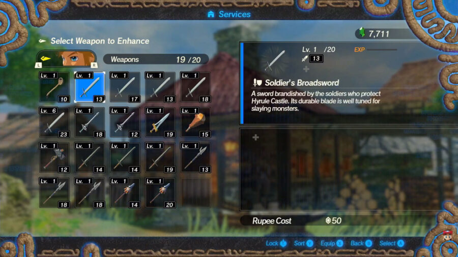 Blacksmith menu in Hyrule Warriors: Age of Calamity