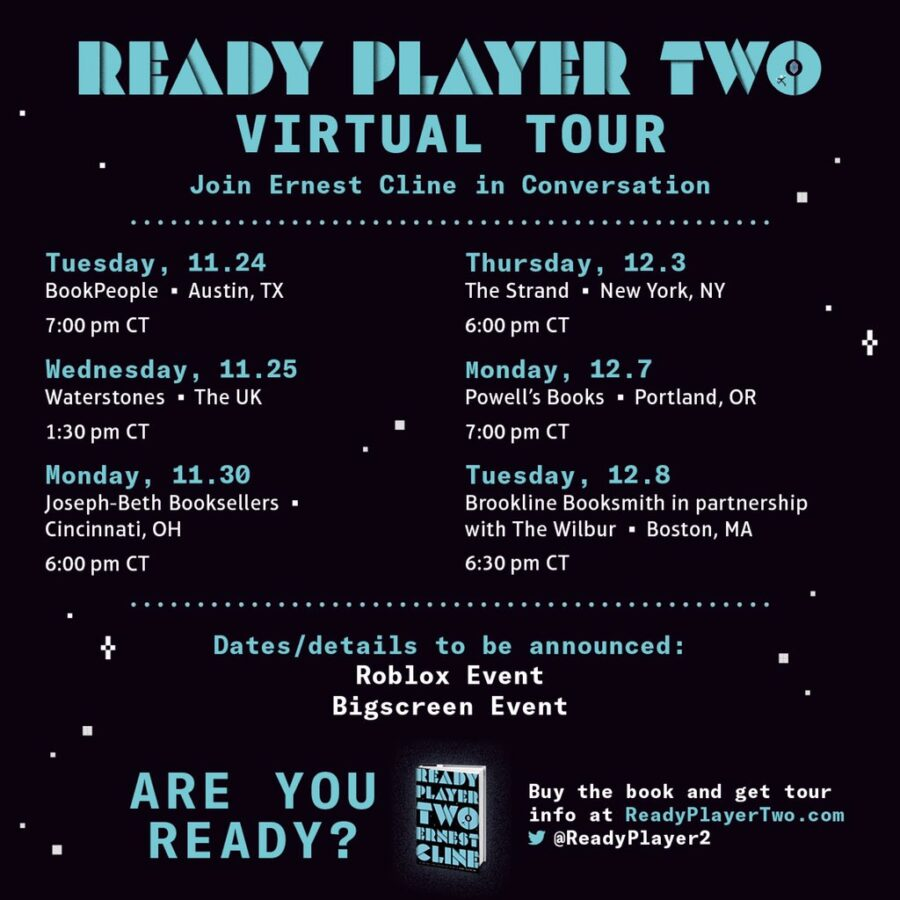 Ready Player Two virtual tour schedule