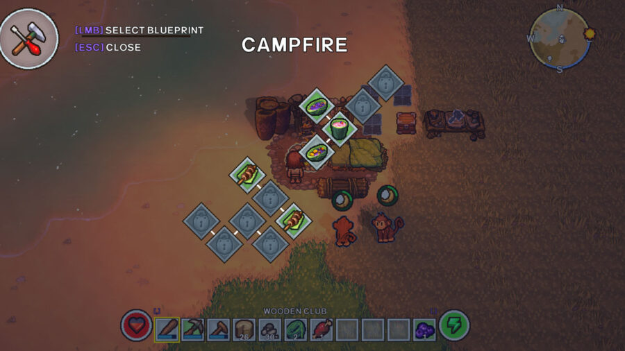 Campfire cooking menu in The Survivalists