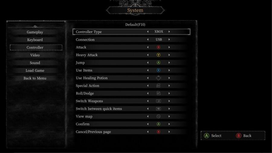 A screenshot of the controller optiosn in Vigil: The Longest Night