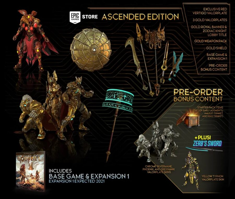 A picture of what is all in the Ascended PC Edition of Godfall