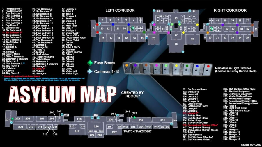 A picture of the Asylum map in Phasmophobia
