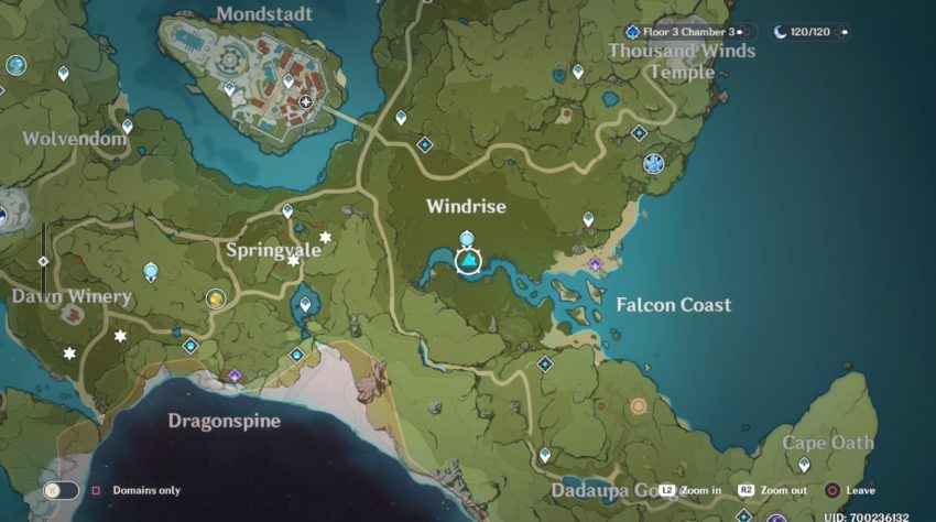 A screenshot of where the Crystalfly spawns in Mondstadt in Genshin Impact.