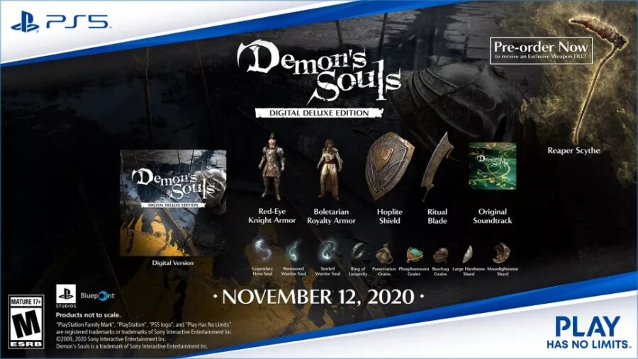 A picture of what is all in the Digtial Deluxe Edition of Demon's Souls