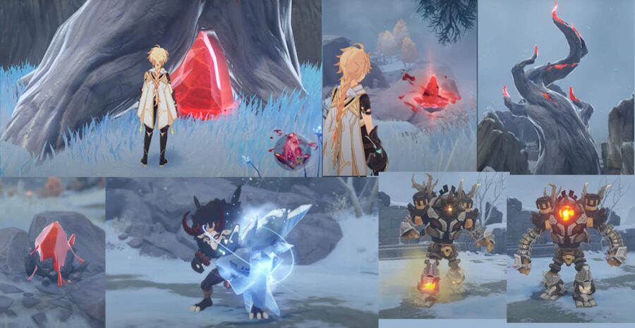 A leaked picture of the new materials and monsters in the new area called Dragonspine in Genshin Impact