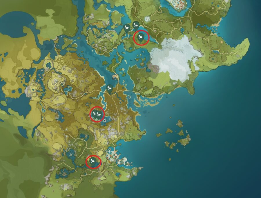 A screenshot of the map in Genshin Impact showing off the locations to find Lotus Head