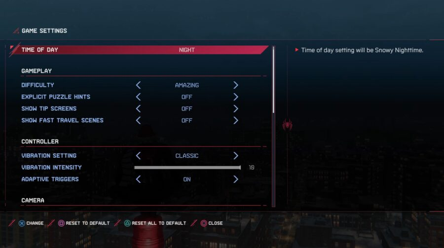 A screenshot of how to change the time of day in Spider-Man: Miles Morales
