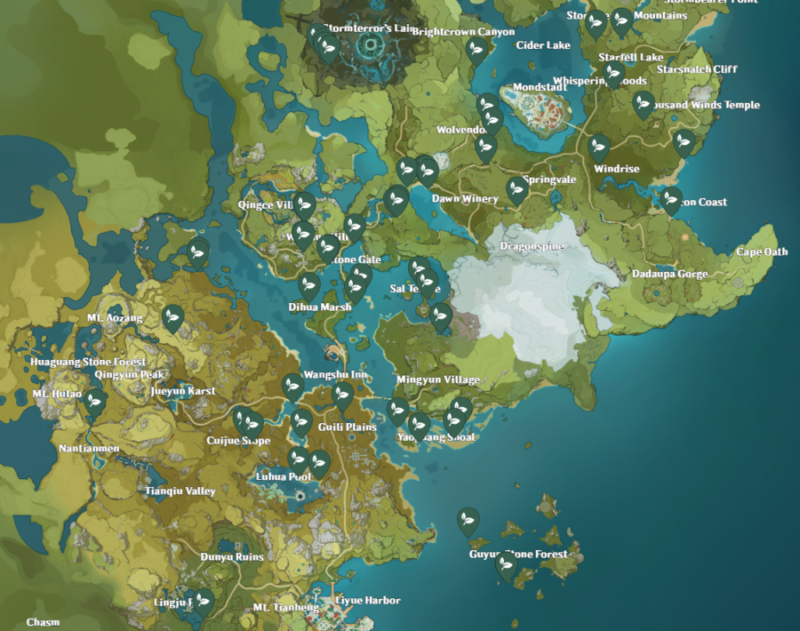 A picture of the map of Genshin Impact showing the location of Mist Flower Corolla