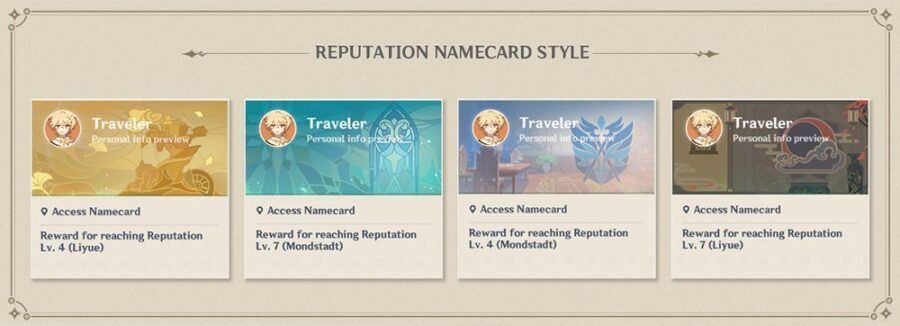 A picture showing off the new Namecards coming with the Reputation System coming to Genshin Impact in update 1.1