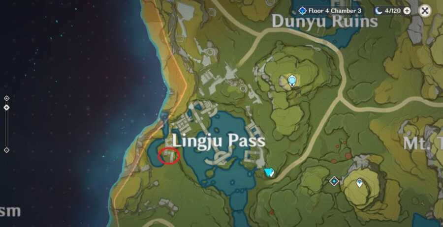 A screenshot of Genshin Impact map showing the location of the Stone Block for the quest And This Treasure Goes To Quest.