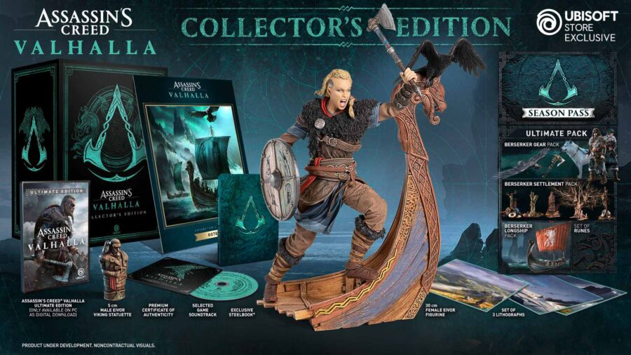 A picture showing off what's included in the Assassin's Creed Vahalla Collector's Edition