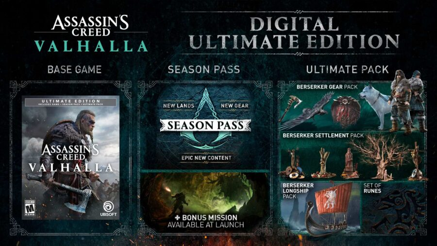A picture showing off what's included in the Assassin's Creed Vahalla Ultimate Edition