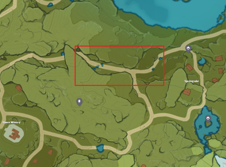 A picture of the Genshin Impact map showing the best location to find wheat