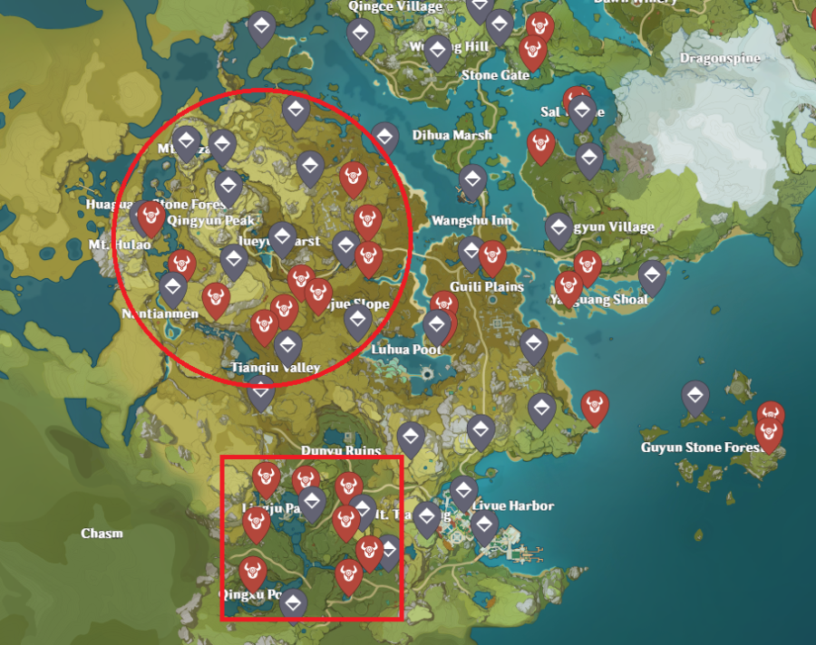 A picture of the Genshin Impact map, showing off the locations of the Abyss Mages to get the Dead Ley Line materials