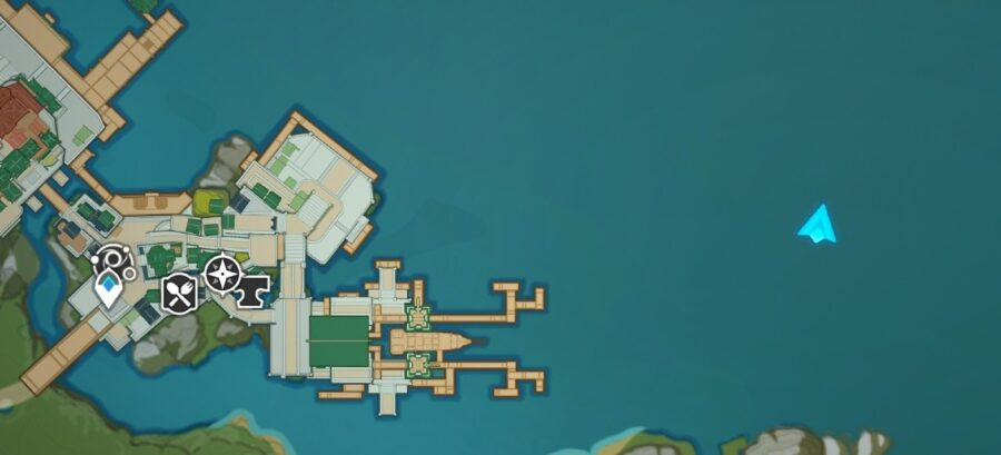 A picture of the map of Genshin Impasctyt, showing off the lcoation of the Pearl Galley offshore of Liyue Harbor