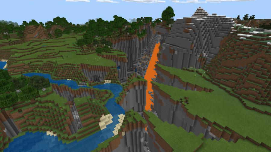 A screenshot of a ravine glitch in Minecraft.