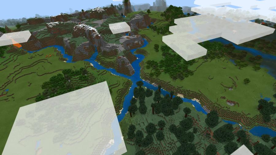 A screenshot of split biomes in Minecraft.