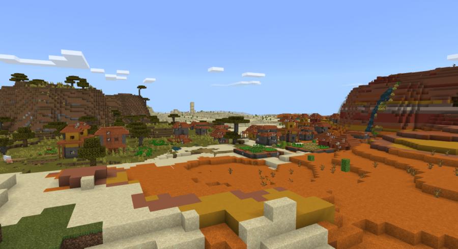 A savannah village in a Mesa Biome.