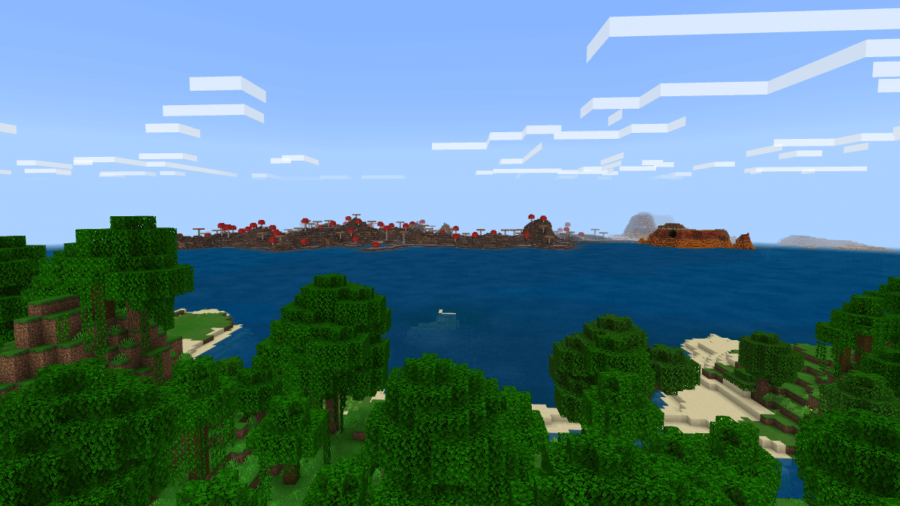 Screenshot of a Mushroom Island off in the distance.