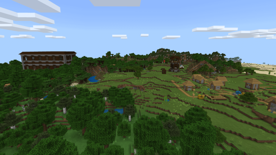 A screenshot of a village, outpost, and mansion in the distance.
