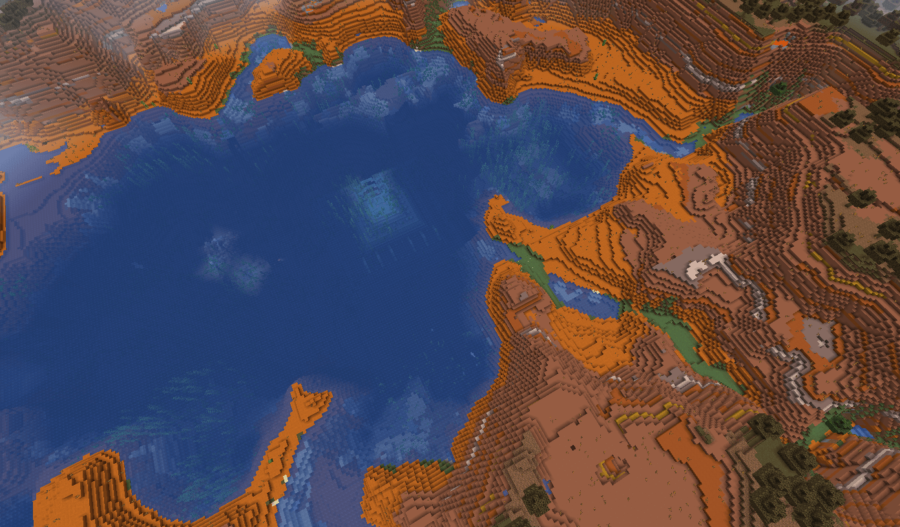 A screenshot of an Ocean Monument in a Badlands Biome.