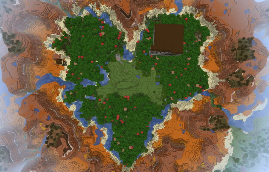 A mansion in a heart shaped forest in Minecraft.