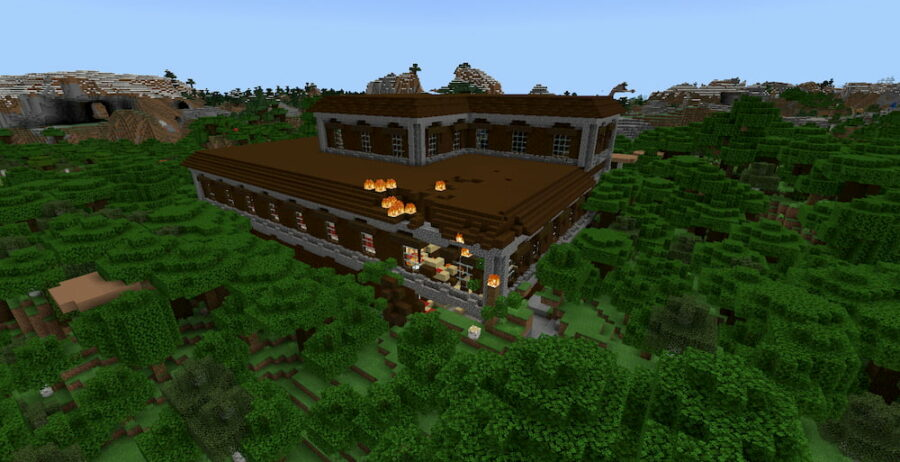 A burning mansion in Minecraft.