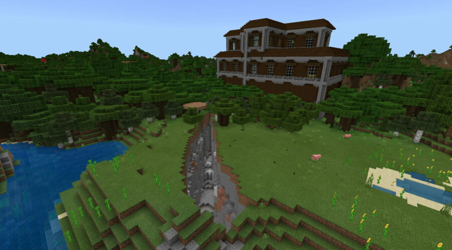 A Mansion that looks like a castle in Minecraft.