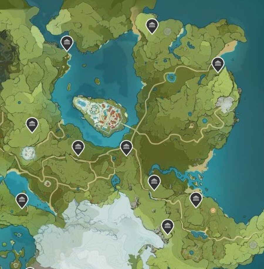 A screenshot of the map in Genshin Impact showing off the locations of the Shrine of Depths in Mondstadt
