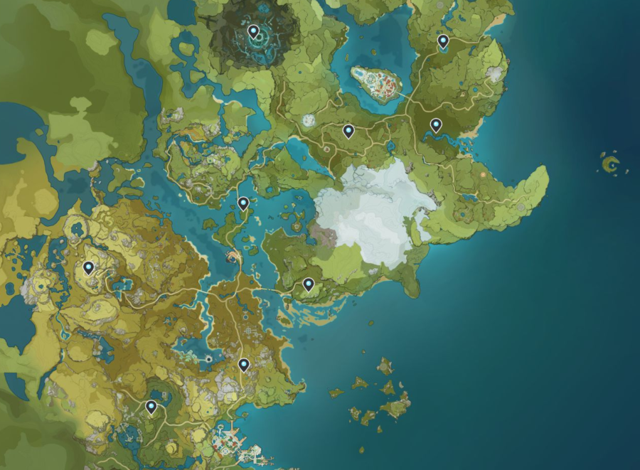 A screenshot of the map in Genshin Impact, showing off the lcoations of the Statues of the Seven.
