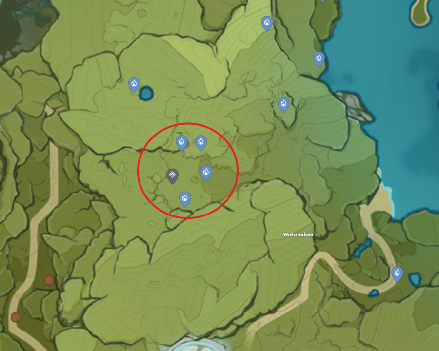 A picture of Genshin Impacts map showing the location of Cecilia Garden and the location of the Seelies to solve the puzzle