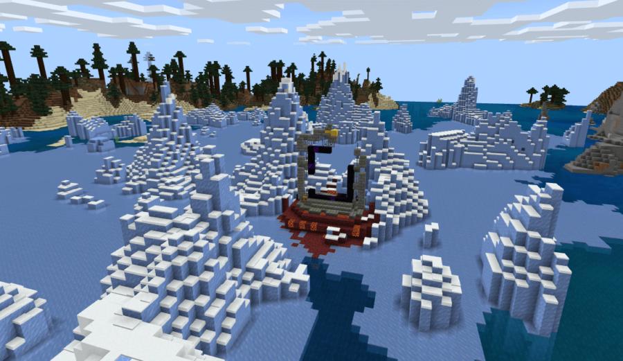 A ruined portal in a Frozen Ocean biome.