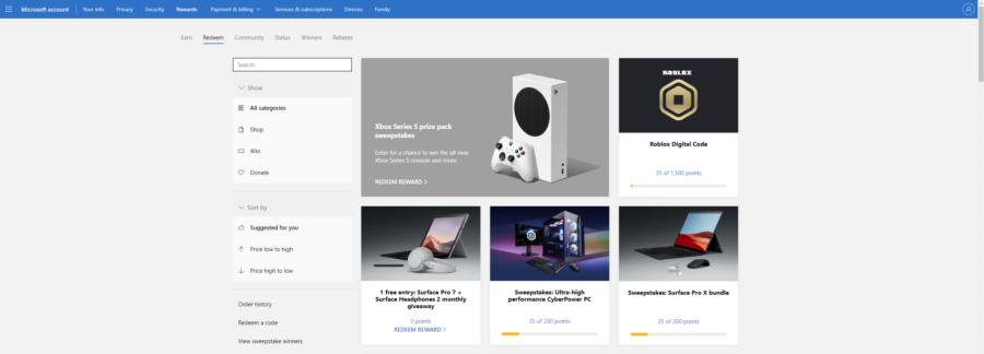 Roblox Microsoft Rewards Free Robux Redeem Page