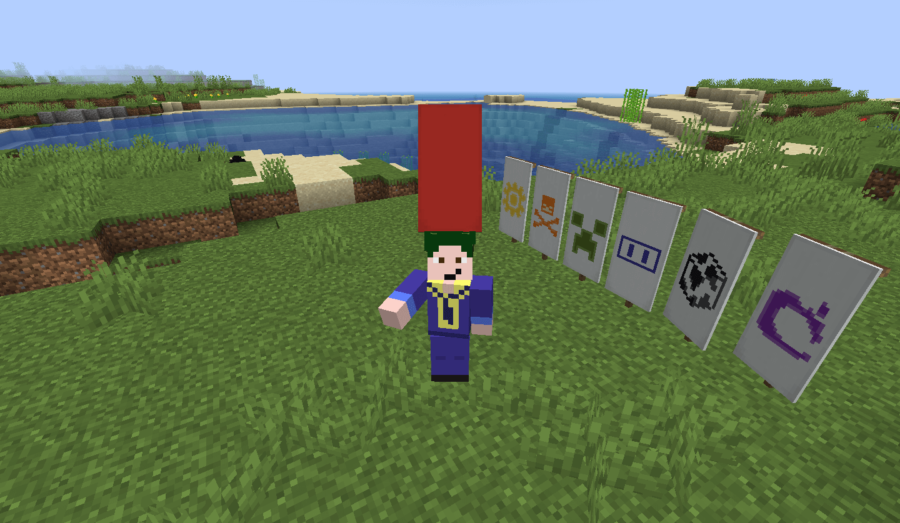 Barish wearing a banner and presenting every rare Minecraft Banner Pattern.