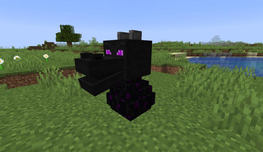 A Dragon Head on a Minecraft Dragon Egg.
