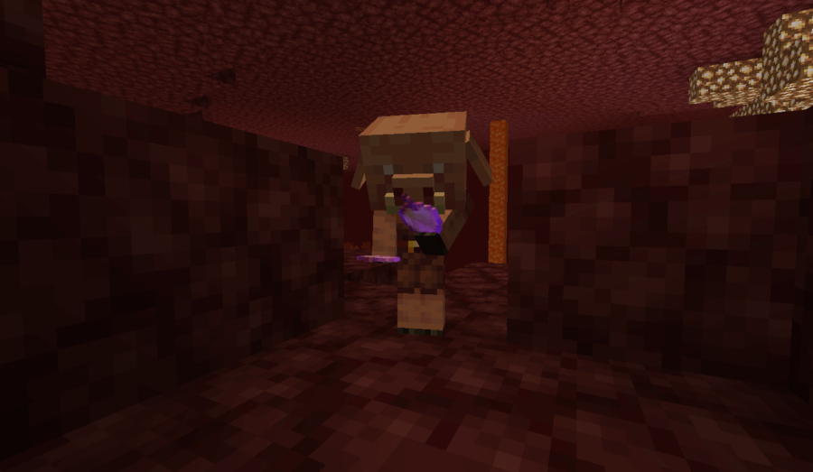 A baby Piglin inspecting a Minecraft Enchanted Apple.