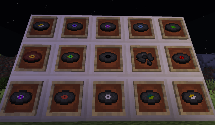 A wall of every single Minecraft Music Disc.