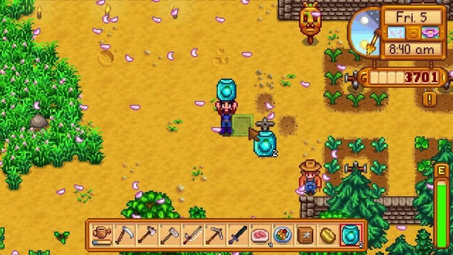 A character planting Ancient Fruit Seed in Stardew Valley.