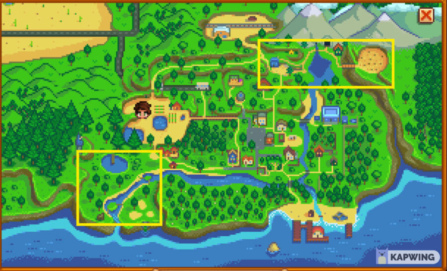 Stardew Valley Map highlighting Cindersap Forest and The Mountain.