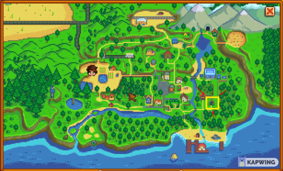 Stardew Valley map highlighting the Museum.